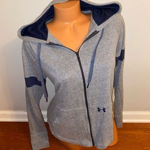 Under Armour gray zip hoodie logo top medium